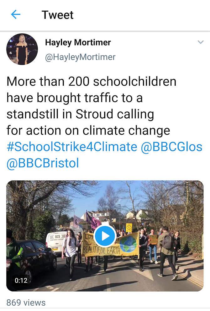 stroud students strike tweet