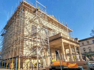 Stroud subrooms covered in scaffolding