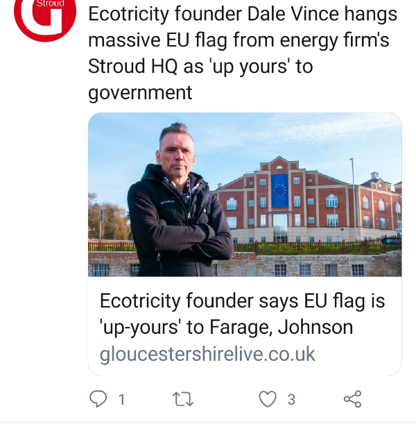 Tweet re Dale Vince EU flag
