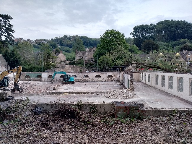 roof removed from rooksmoor mills