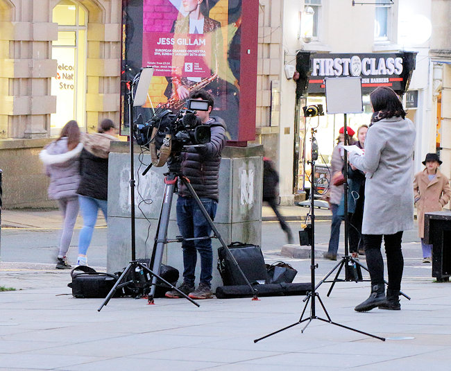 News crew outside the stroud sub rooms
