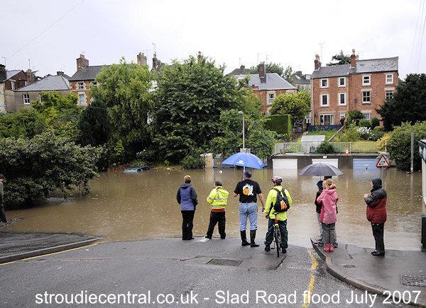 Slad Road in Stroud flood in July 2007