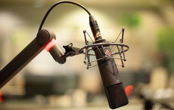 image of a radio station microphone