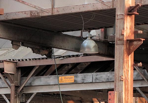 big old light in demolished building