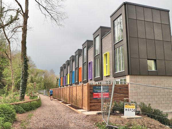 colourful window frames at Rooksmoor Mills near Stroud