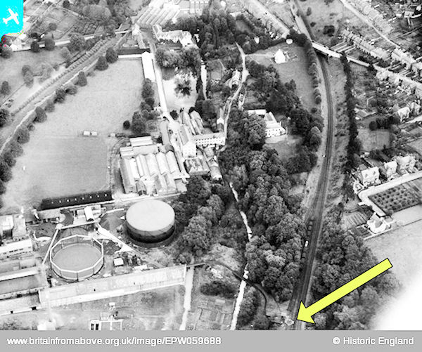 Stroud gas works from the air